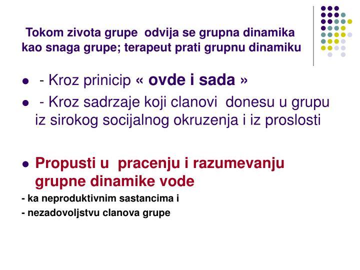 Tokom zivota grupe  odvija se grupna dinamika kao snaga grupe;