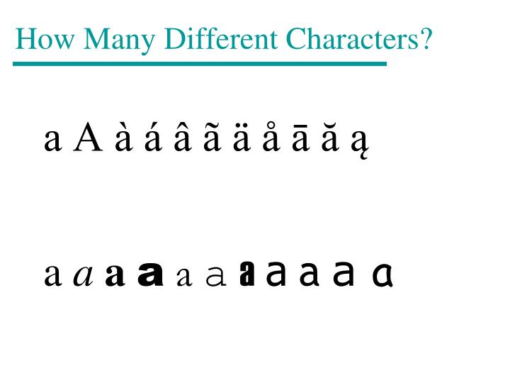 How Many Different Characters?