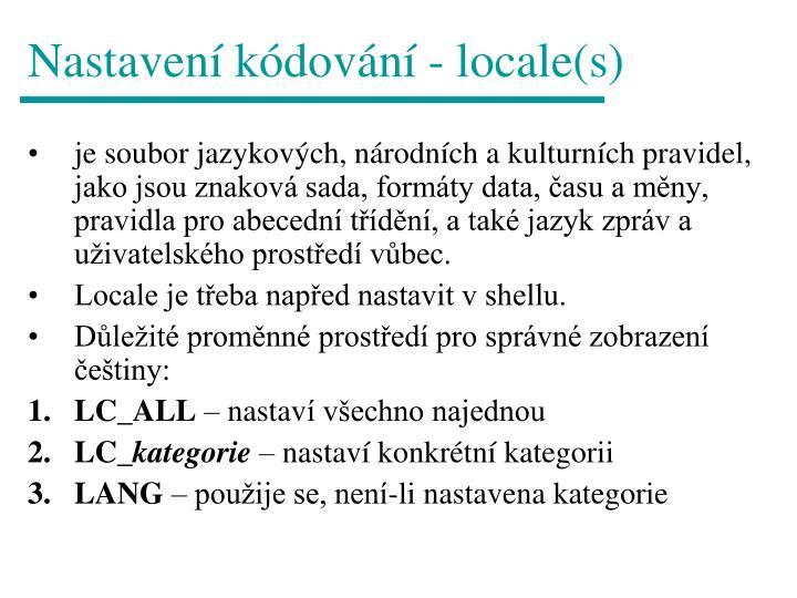 Nastavení kódování - locale(s)