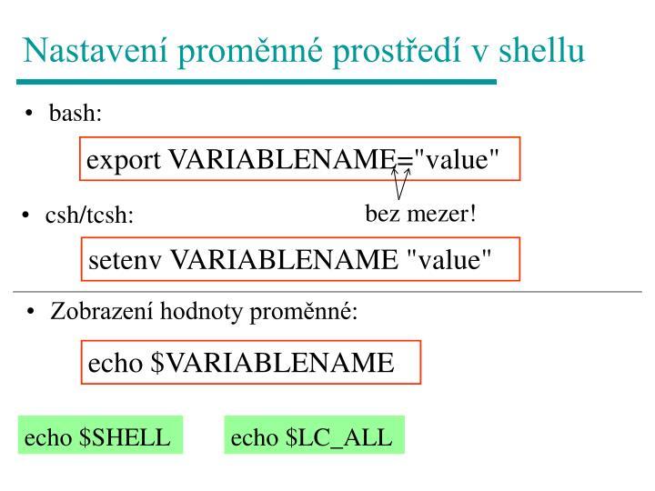 Nastavení proměnné prostředí v shellu
