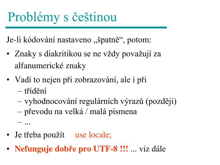 Problémy s češtinou