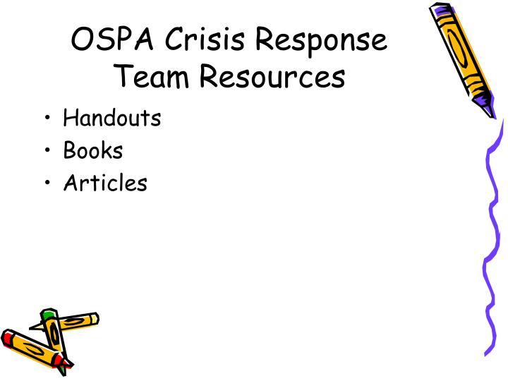 OSPA Crisis Response Team Resources