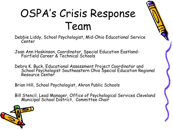 OSPA's Crisis Response Team