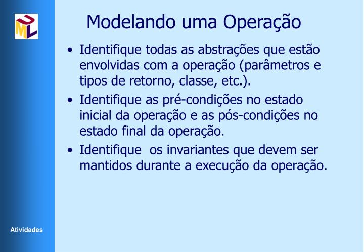 Modelando uma Operação