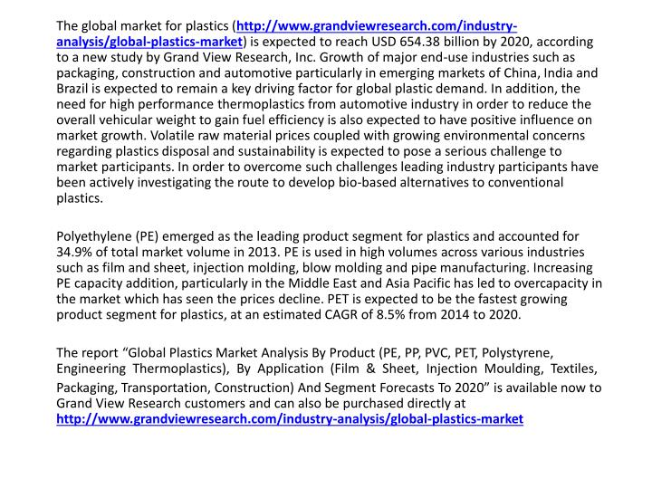 The global market for plastics (