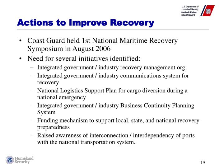 Actions to Improve Recovery