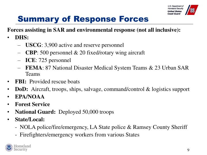 Summary of Response Forces