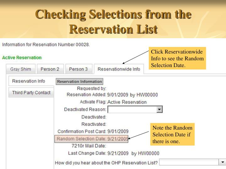 Checking Selections from the Reservation List