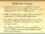 dor time frames