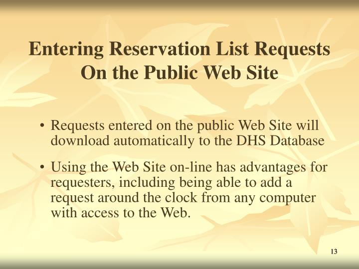 Entering Reservation List Requests On the Public Web Site
