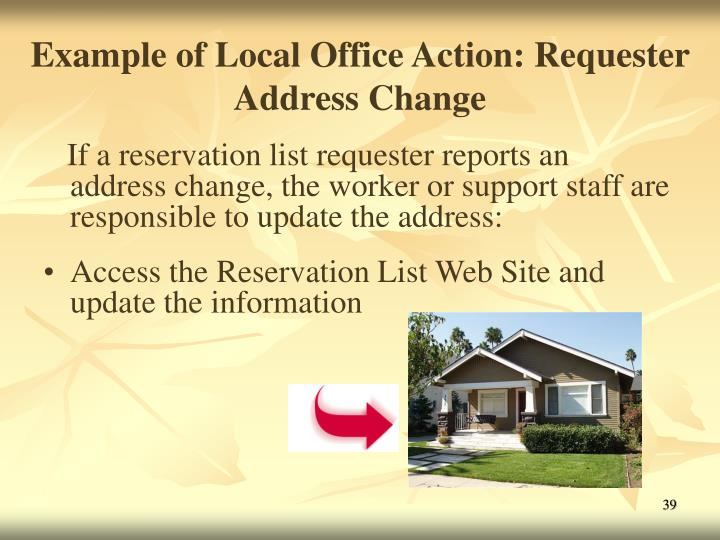 Example of Local Office Action: Requester Address Change