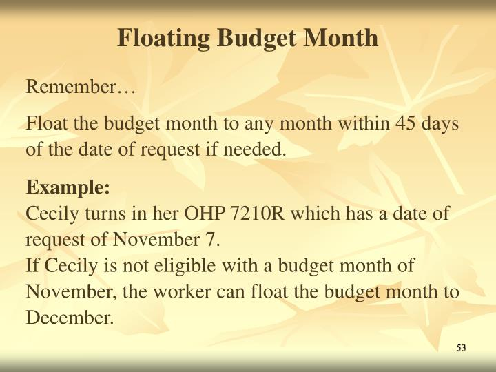 Floating Budget Month