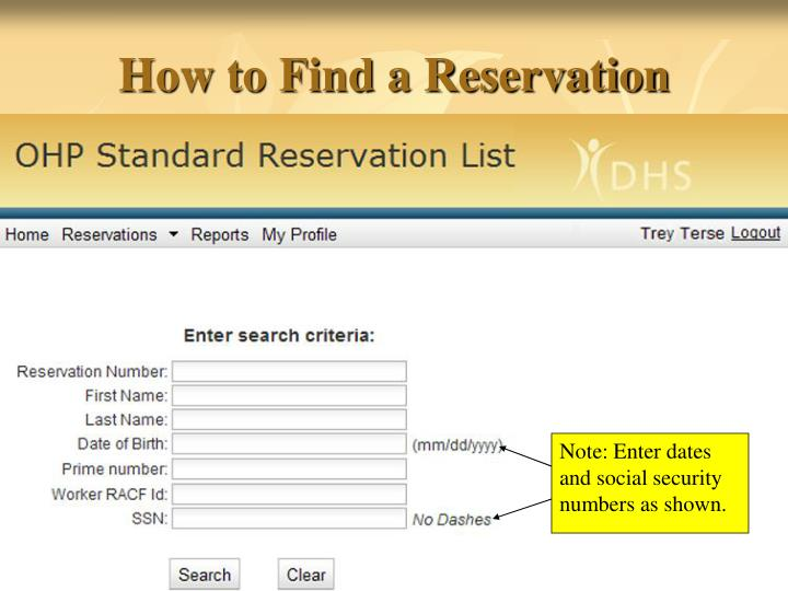 How to Find a Reservation
