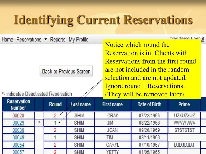 Identifying Current Reservations