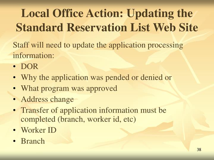 Local Office Action: Updating the Standard Reservation List Web Site