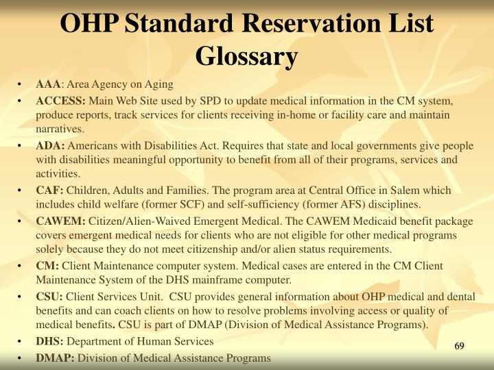 OHP Standard Reservation List Glossary