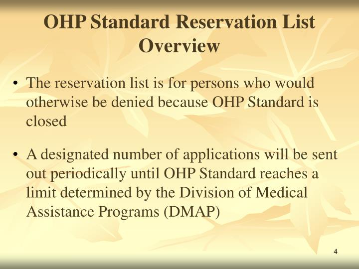 OHP Standard Reservation List Overview