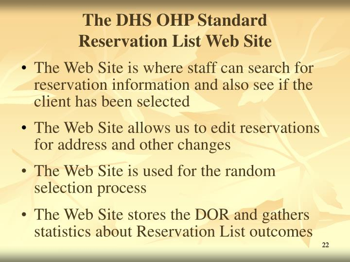 The DHS OHP Standard