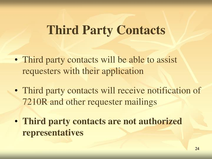 Third Party Contacts