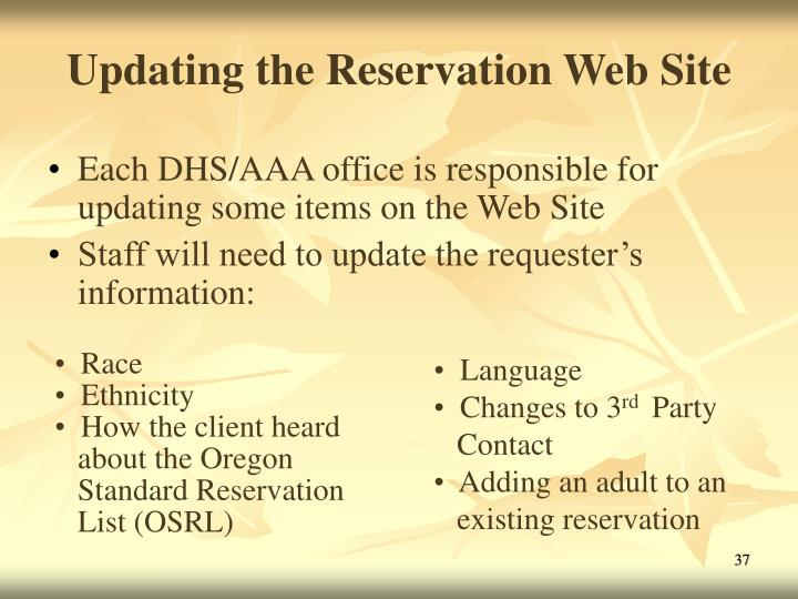 Updating the Reservation Web Site