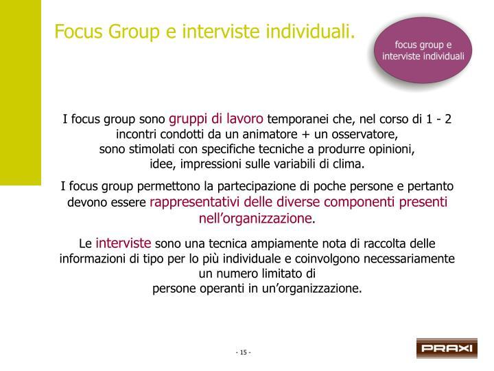Focus Group e interviste individuali.