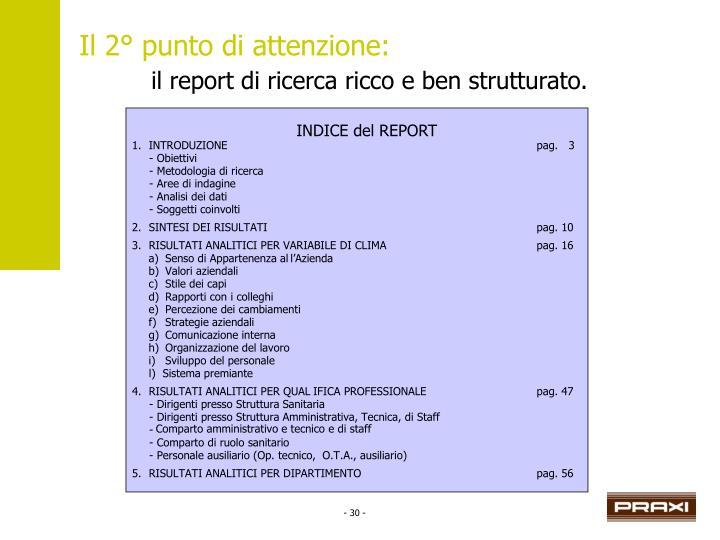 INDICE del REPORT