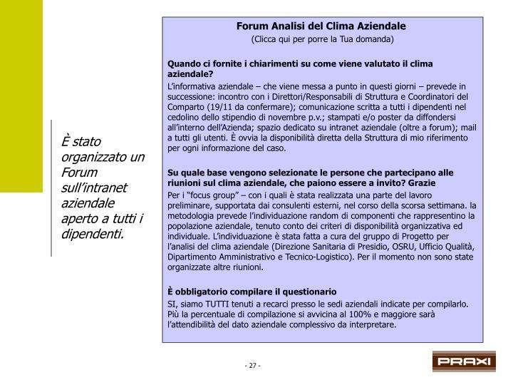 Forum Analisi del Clima Aziendale