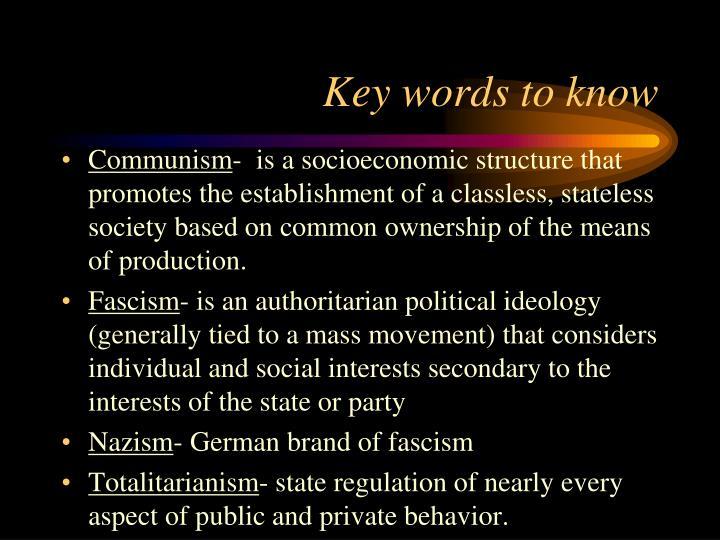 Key words to know