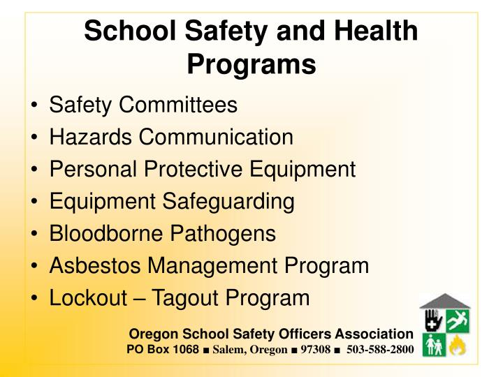 School safety and health programs