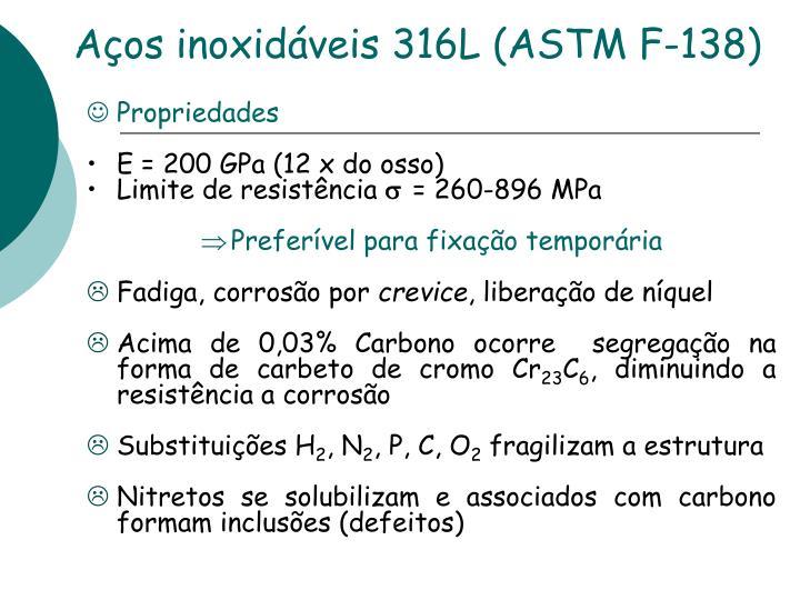 Aços inoxidáveis 316L (ASTM F-138)