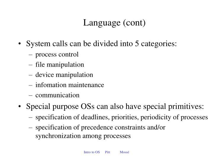 Language (cont)