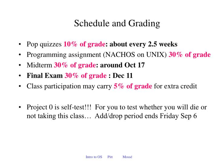 Schedule and Grading