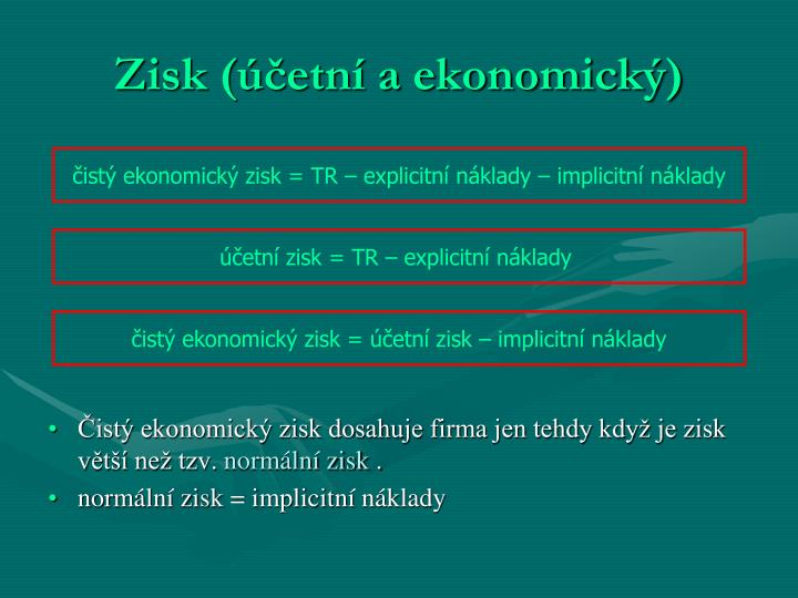 Zisk (účetní a ekonomický)