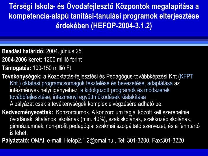 Trsgi Iskola- s vodafejleszt Kzpontok megalaptsa a kompetencia-alap tantsi-tanulsi programok elterjesztse  rdekben (HEFOP-2004-3.1.2)