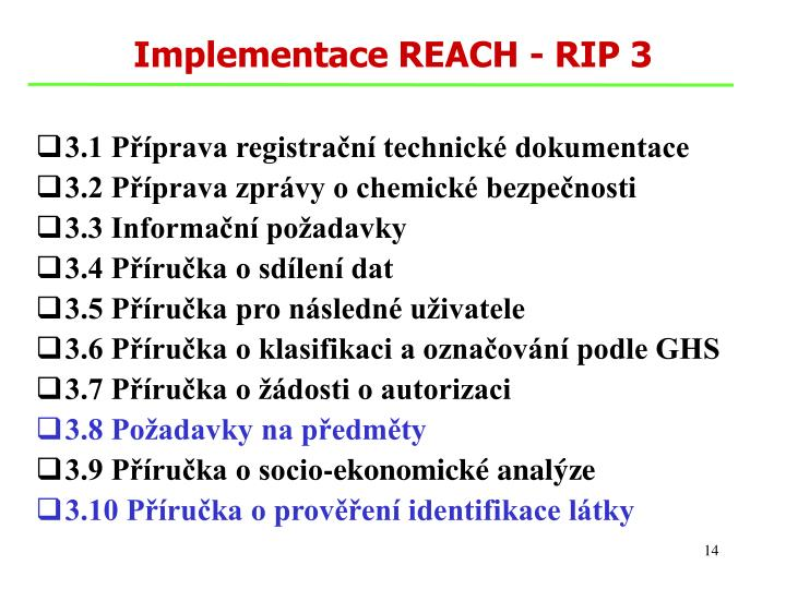 Implementace REACH - RIP 3