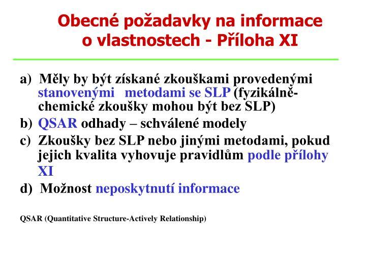 Obecné požadavky na informace