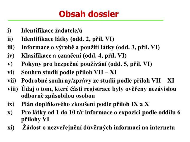 Obsah dossier
