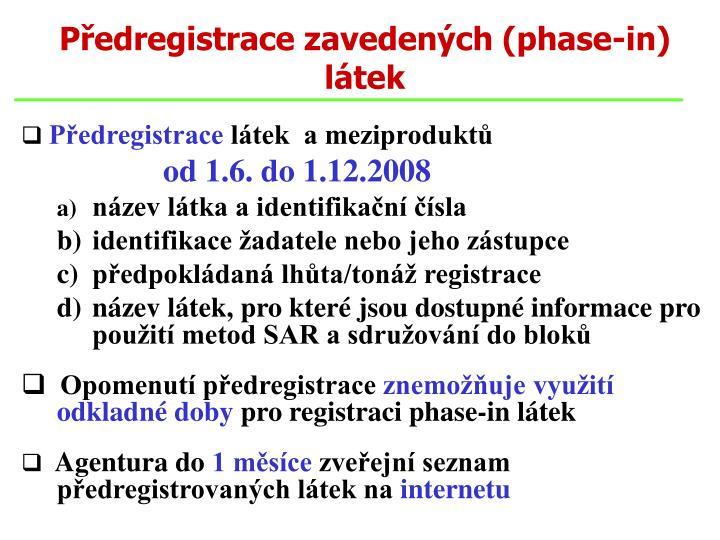 Předregistrace zavedených (phase-in)  látek
