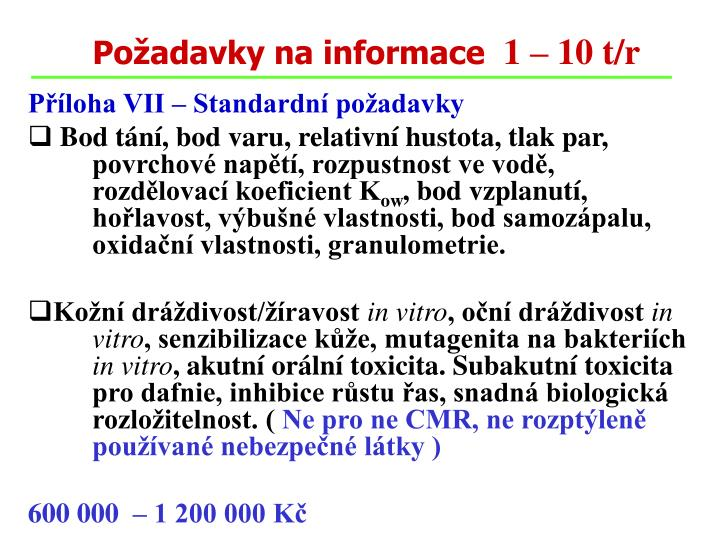 Požadavky na informace