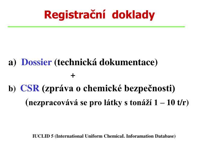 Registrační  doklady