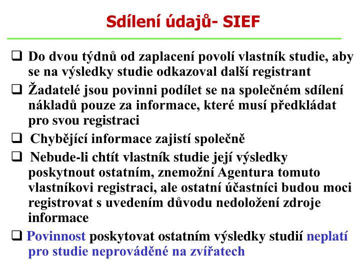 Sdílení údajů- SIEF