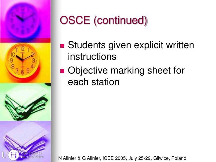 OSCE (continued)