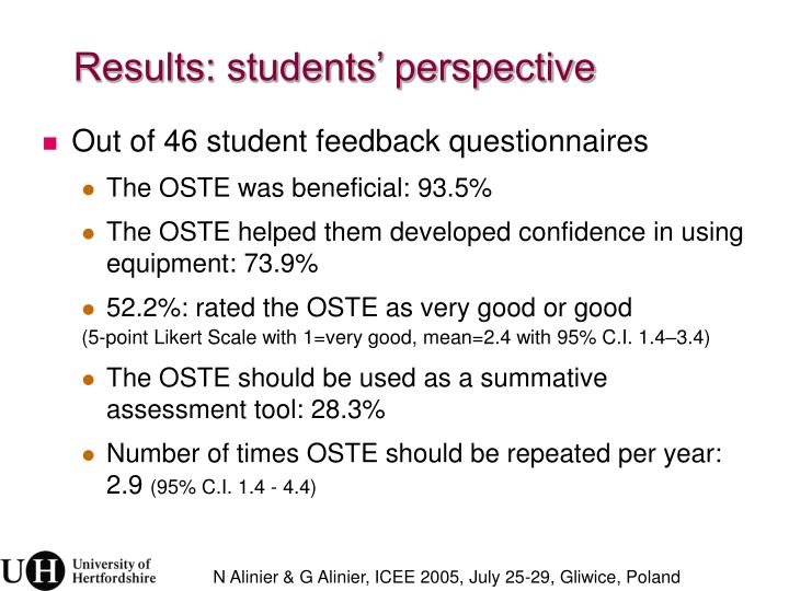 Results: students' perspective