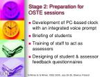 stage 2 preparation for oste sessions