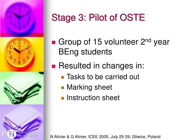 Stage 3: Pilot of OSTE