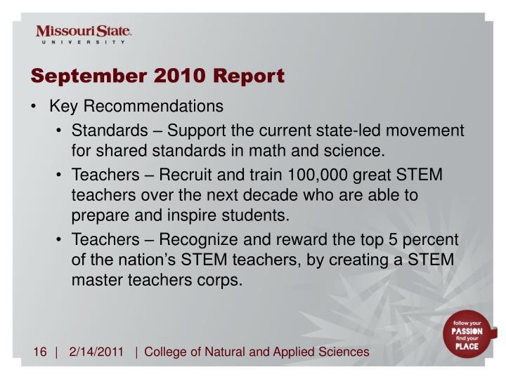 September 2010 Report