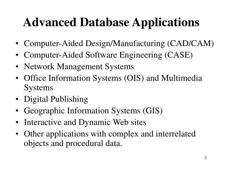 Advanced Database Applications