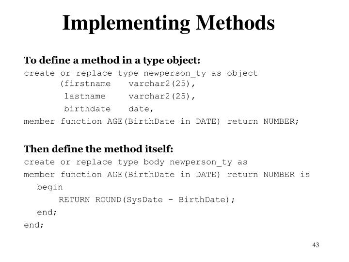 Implementing Methods