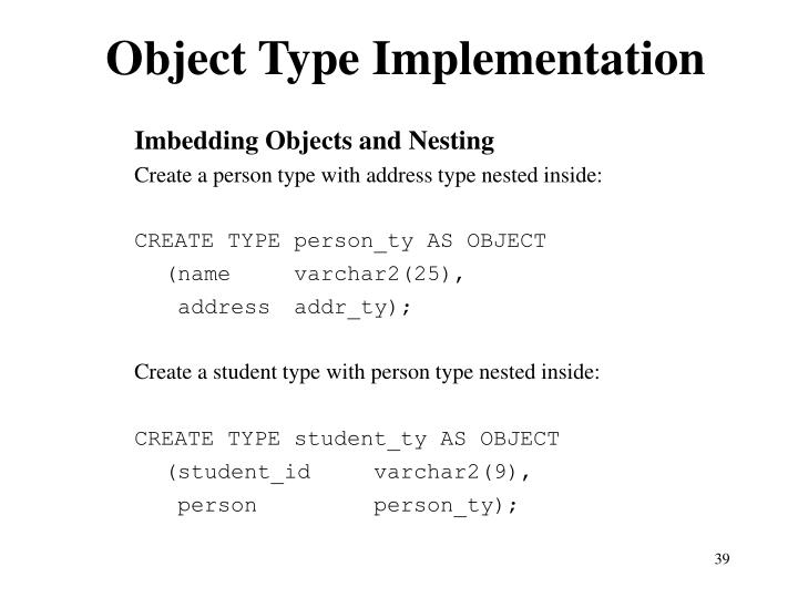 Object Type Implementation