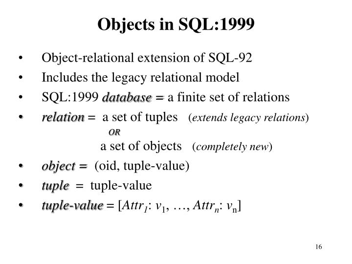 Objects in SQL:1999